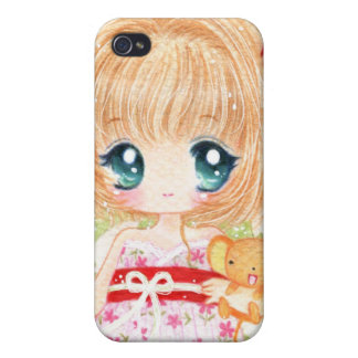 Cute chibi girl with kawaii plushie iPhone 4/4S cover
