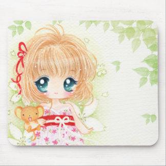 Cute chibi girl with kawaii plushie mouse pads