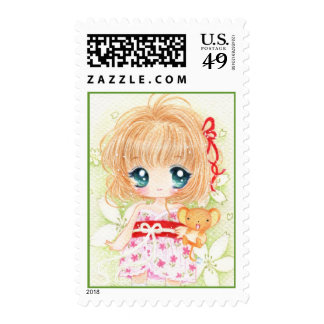 Cute chibi girl with kawaii plushie postage stamp