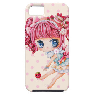 Cute chibi girl with pink hair and strawberry iPhone 5 case