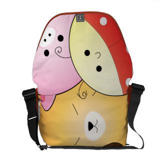 cute chibi kawaii animal faces messenger bags