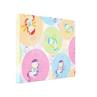 cute chibi pixies and circles pattern canvas print