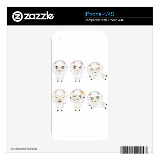 Cute Chibi Sheeps 2 Skins For iPhone 4S