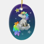 Cute Chibi Unicorn, Rainbow and Stars ornament