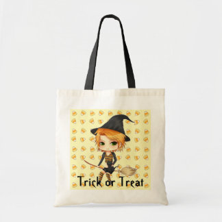 Cute chibi witch Halloween trick or treat bag