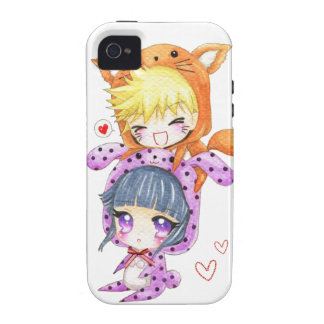 Cute chibis couple in fox and bunny hoodies vibe iPhone 4 case