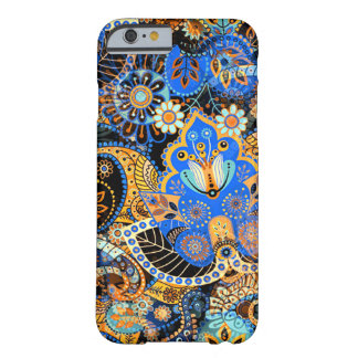 Cute Chic Blue Orange Retro Paisley Floral Pattern Barely There iPhone 6 Case
