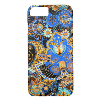 Cute Chic Blue Orange Retro Paisley Floral Pattern iPhone 7 Case
