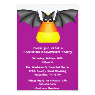 Cute Chic Candy Corn Bat Halloween Party Invite