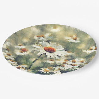Cute Chic Colorful Summer Daisies Flower Pattern Paper Plate