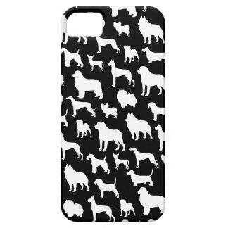 Cute & Chic Dog Silhouette Design on Black iPhone SE/5/5s Case