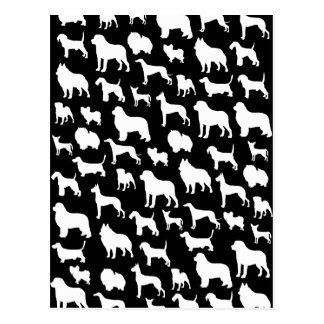 Cute & Chic Dog Silhouette Design on Black Post Cards