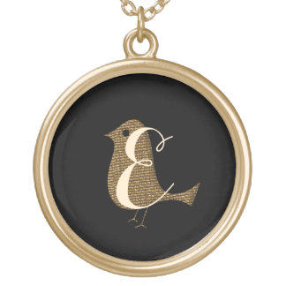 Cute  Chic Gold Bird Monogram Necklace
