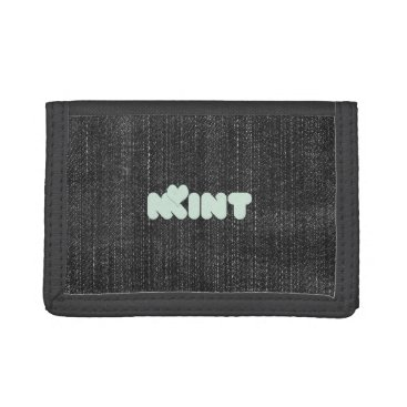 USA Themed Cute Chic Mint Love Typography Denim Wallet
