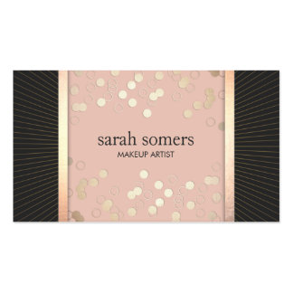 Cute Chic Pink and Black Gold Confetti Girly Double-Sided Standard Business Cards (Pack Of 100)
