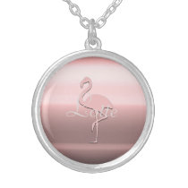 Cute Chic Pink Flamingo Add Name Necklace
