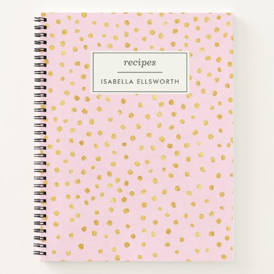 Cute Chic Pink Gold Polka Dot Personalized Recipe Notebook