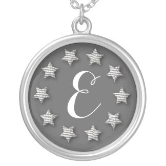 Cute  Chic Silver Star Ring Monogram Necklace