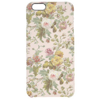 Cute Chic Stylish Vintage Pink Rose Flower Pattern Clear iPhone 6 Plus Case