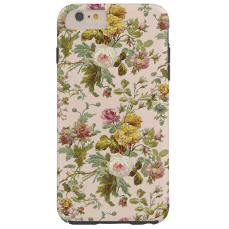 Cute Chic Stylish Vintage Pink Rose Flower Pattern Tough iPhone 6 Plus Case