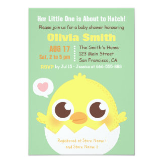 Cute Chick About to Hatch Baby Shower Invitations
