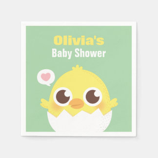Cute Chick About to Hatch Baby Shower Napkins