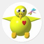 Cute chick classic round sticker