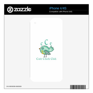 CUTE CHICK CLUB MEMBER DECALS FOR iPhone 4S