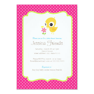 Cute chick girl baby shower invitation
