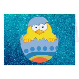 Cute Chick Hatching From Blue Colorful Easter Egg Card