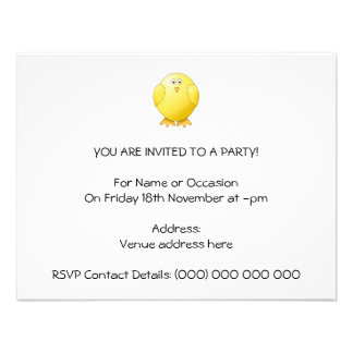 Cute Chick Little Yellow Bird Personalized Invites
