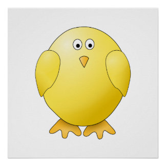 Cute Chick. Little Yellow Bird. Poster