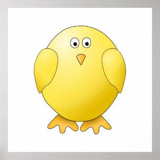 Cute Chick. Little Yellow Bird. Poster