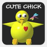 Cute chick square sticker