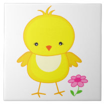 Cute chick with flower ceramic tile