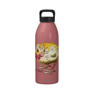 Cute Chick with Pink Bow Water Bottles