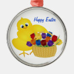 Cute Chick with Tulips Ornament