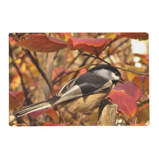 Cute Chickadee Bird in Pink Autumn Leaves Placemat