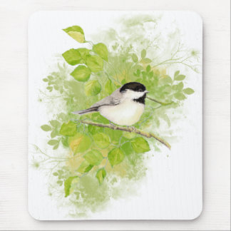 Cute Chickadee Bird in Poplar Tree Mouse Pad
