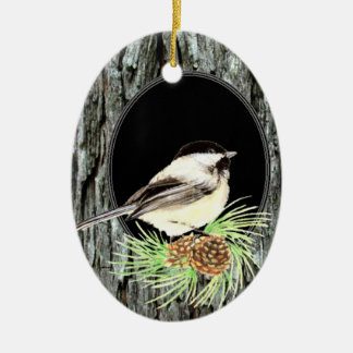 Cute Chickadee Bird in Tree, Nature, Wildlife Double-Sided Oval Ceramic Christmas Ornament