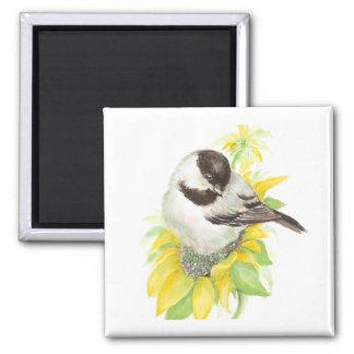 Cute Chickadee, Bird, Sunflower, Garden, Nature Magnet