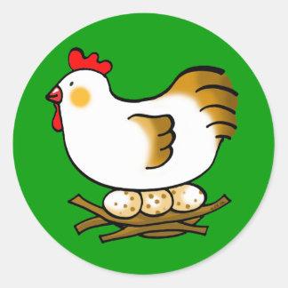 cute chicken and eggs classic round sticker