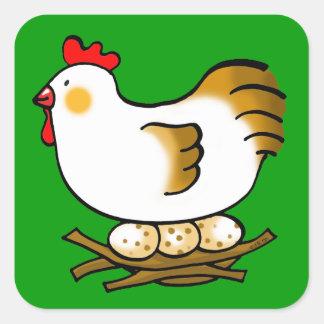 cute chicken and eggs square sticker