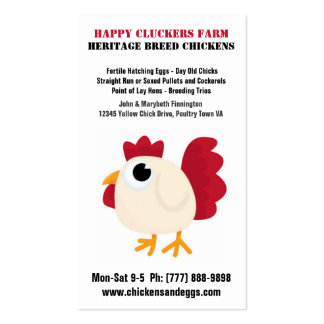 Cute Chicken Cartoon Egg or Poultry Farm Double-Sided Standard Business Cards (Pack Of 100)