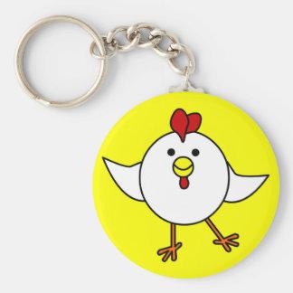 Cute Chicken Dance - White and Yellow Basic Round Button Keychain
