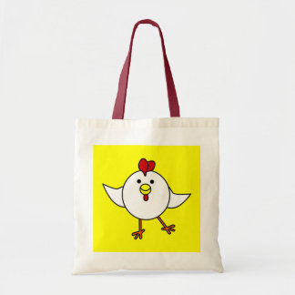 Cute Chicken Dance - White and Yellow Budget Tote Bag