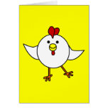 Cute Chicken Dance - White and Yellow Greeting Card