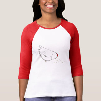 Cute chicken eating seed tee shirts