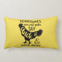 Cute Chicken Lover Farm Farmer Rooster Yellow Lumbar Pillow