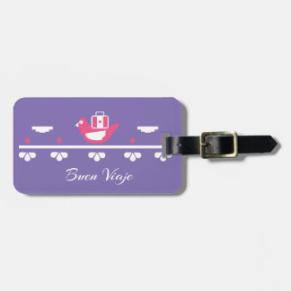 Cute chicken Mexican pattern purple luggage tag